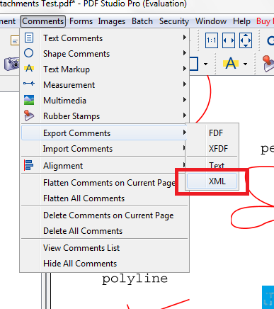 Comment XML Export