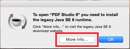 Java 6 studio error message click