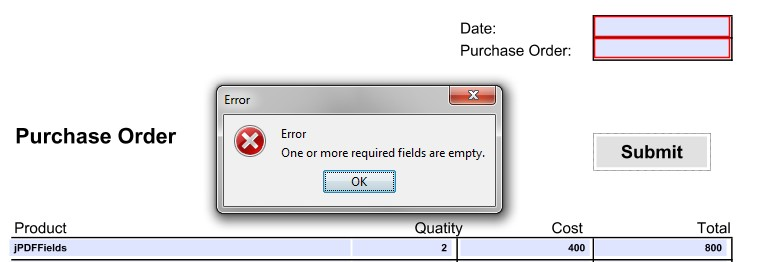 Validation of required field when submitting a form