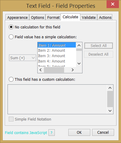 Text Field Calculate