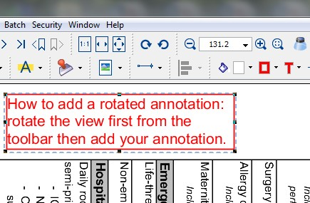 Adding a rotated annotation in PDF Studio