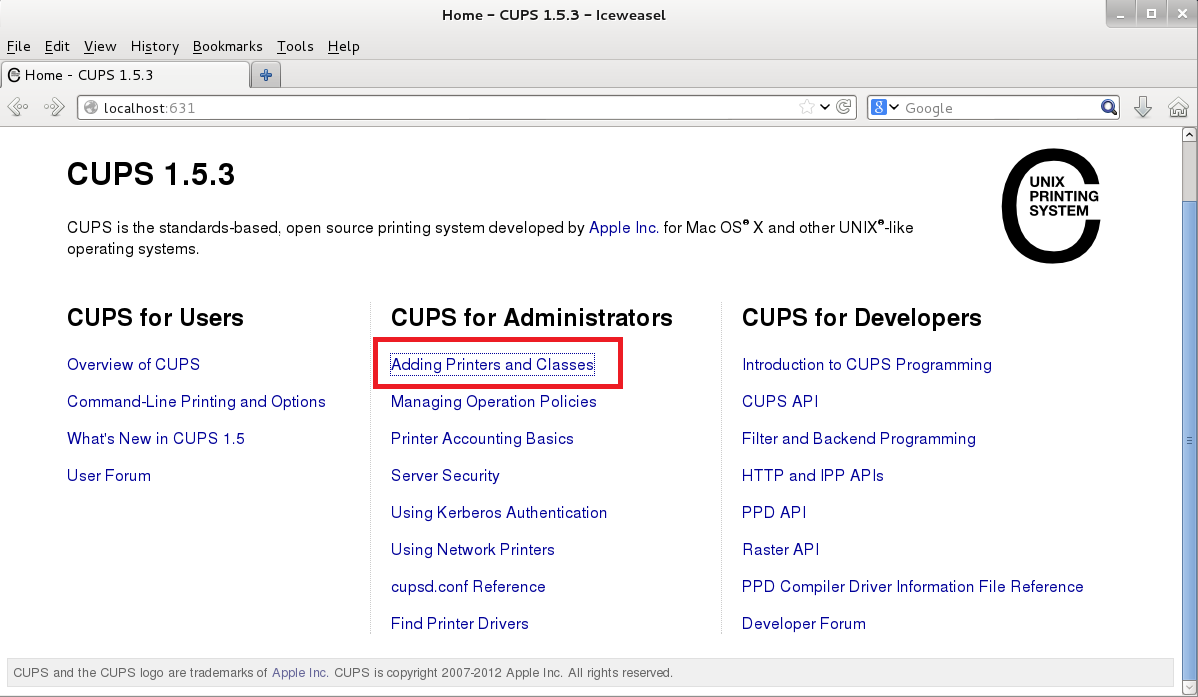 CUPS web interface - linux