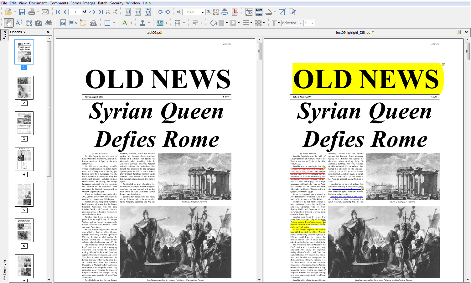 Compare 2 documents side by side in PDF Studio
