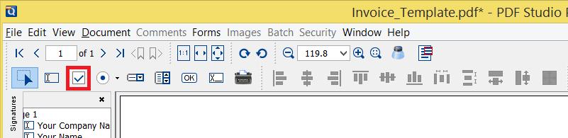 Create check box Button