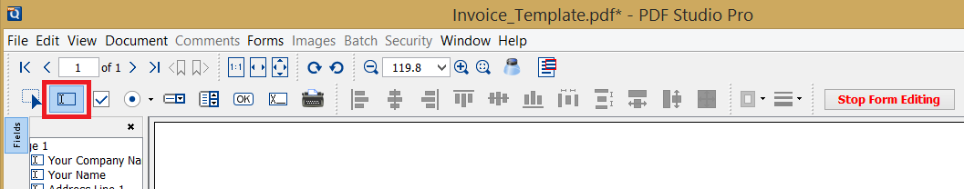 Create text field Button