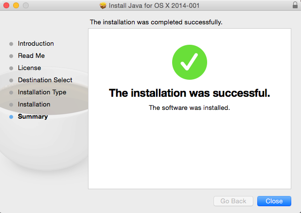 Java 6 Install completed