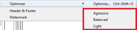 Optimizer quick options