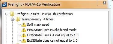 The PDF/A1b Prefligth Validation Result in PDF Studio will show the transparency features present in a PDF document
