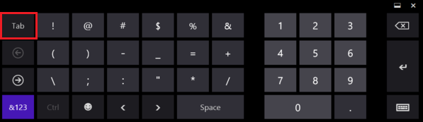Tab Standard Keyboard