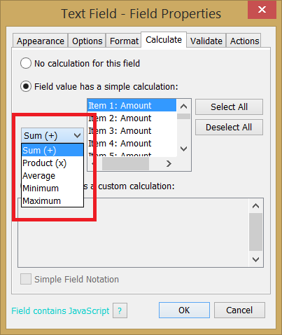 Text Field Calculate - Simple calc option