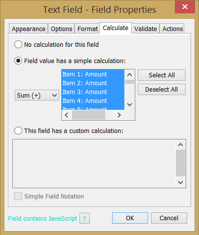 Text Field Calculate - Simple