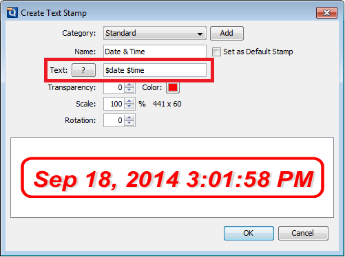 create text stamp - datetime