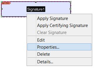 signature field properties