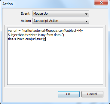 Sending email with PDF form data file using the submitForm action